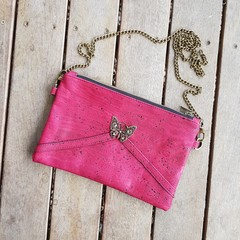 Red wine butterfly shoulder bag