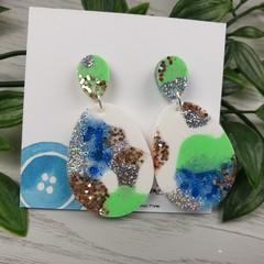 Tiffany Teardrop - Glittering - Drop Resin - Stud Dangle earrings