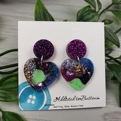 Tiffany Midnight Heart - Glittering - Drop Resin - Stud Dangle earrings