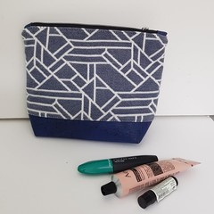 Blue / white cosmetics bag