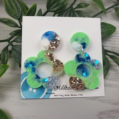 Tiffany Daisy - Glittering - Drop Resin - Stud Dangle earrings