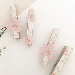 Decorative pegs - Pink autumn