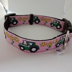 Pink tractor print adjustable dog collar