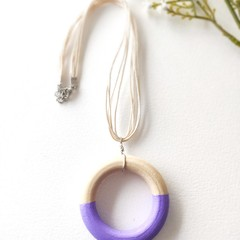 Minimalist Baby Purple Jewelry Handmade Wooden Statement Necklace