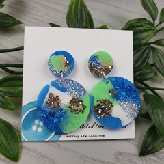 Tiffany Circle - Glittering - Drop Resin - Stud Dangle earrings