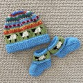 Aqua  sheep baby beanie and Matching Booties - up to 4 months - Hand knitted