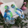 Tiffany Pebble Loop - Glittering - Drop Resin - Stud Dangle earrings