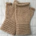 Fingerless Mitts, Natural Un-dyed Wool, Handspun & Hand Knitted