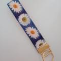 Blue daisy key fob wristlet