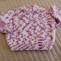 Size 6-12 months hand knitted jumper; girl, easy wash,