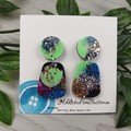 Tiffany Pebble - Glittering - Drop Resin - Stud Dangle earrings