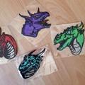 """Dragon Heads"" Iron-on Badges."
