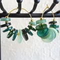 Colourful Circle button Fringe Statement Anxiety hoop earrings , Green Gold