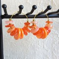 Colourful Circle button Fringe Statement Anxiety hoop earrings , Orange Gold