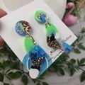 Tiffany  Midnight Organic - Glittering - Drop Resin - Stud Dangle earrings