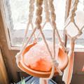 Himalayan Rock Salt Macrame Hangers with Terracotta Saucer