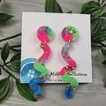 80's Pop Squiggle - Glittering - Drop Resin - Stud Dangle earrings