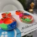 80's Pop Egg - Glittering - Drop Resin - Stud Dangle earrings