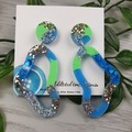 Tiffany Pebble Loop - Glittering - Drop Resin - Stud Dangle earrings