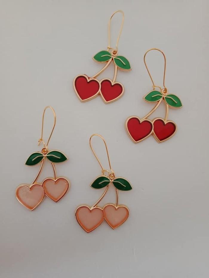 Gold cherry heart earrings