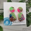 80's Pop Pebble - Glittering - Drop Resin - Stud Dangle earrings