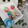 80's Pop Pebble - Glittering - Drop Resin - Stud Dangle earrings
