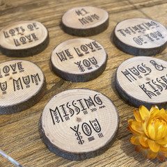 Wood slice magnet, Free Shipping, Fathers day magnet, Name Magnet, personalised