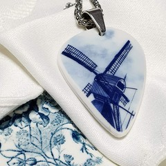 Dutch Delft Blue Windmill Pendant
