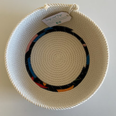 Rope Basket - with Small section of Fabric detailing