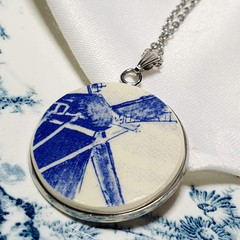 Dutch Delft Blue  Windmill Pendant