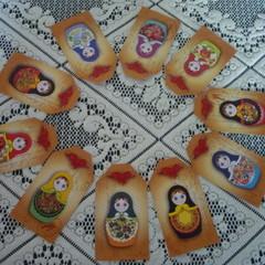 Babushka  Matryoshka Doll 10 x Gift Tags Party Birthday Wedding Card Craft