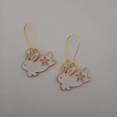 Gold white rabbit charm earrings