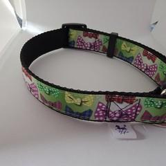 Bow tie print adjustable dog collars