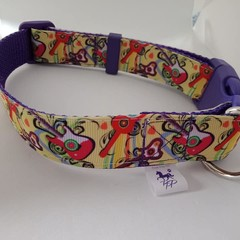 Guitar / music print adjustable dog collars