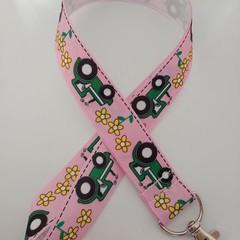Pink tractor print lanyard / ID holder / badge holder