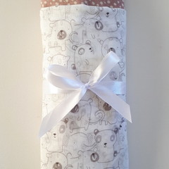 Large Muslin Cotton Wrap Bundle - Baby Animals  & Dusty Pink with Cream Dot Wrap