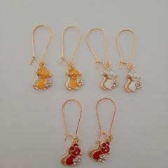 Gold enamel mouse charm earrings
