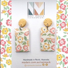 Buttercup Collection - Yellow Floral Rectangle Stud Dangle (1)