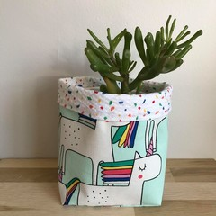 Small fabric planter | Storage basket | UNICORN CONFETTI