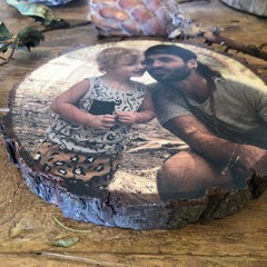 Father & Son Gift, Free Shipping, Fathers Day Present, Wood Slice Photo Block