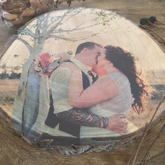 Personalised photo block, Free Shipping, 5th anniversary present, wood slice pic