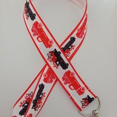 Red and black farm truck lanyard / ID holder / badge holder