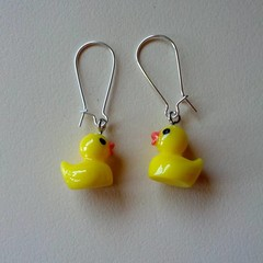 Yellow rubber duck earrings