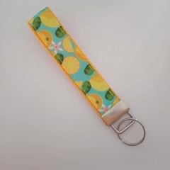 Yellow and blue lemon / citrus key fob wristlet