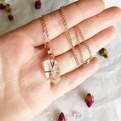 Clear Quartz pendant - Rose Gold 45cm