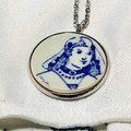 Dutch Delft Blue Girl Pendant