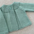 Mint green  Cardigan - Size 6-12 mnths -  Wool bamboo silk yarn  - Hand knitted