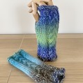 Blue green Cabled Fingerless Mittens - Hand knitted in Pure wool