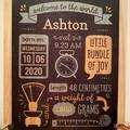 Custom Birth Stats Board, Free Shipping, Birth announcement, wood baby keepsake