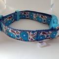 Blue paisley print adjustable dog collars